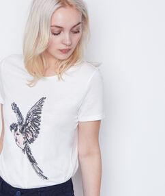T-shirt manches courtes oiseau strass blanc.
