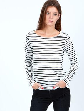 T-shirt marinière blanc.