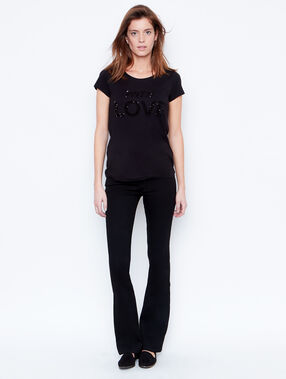 Sequins embroided t-shirt black.