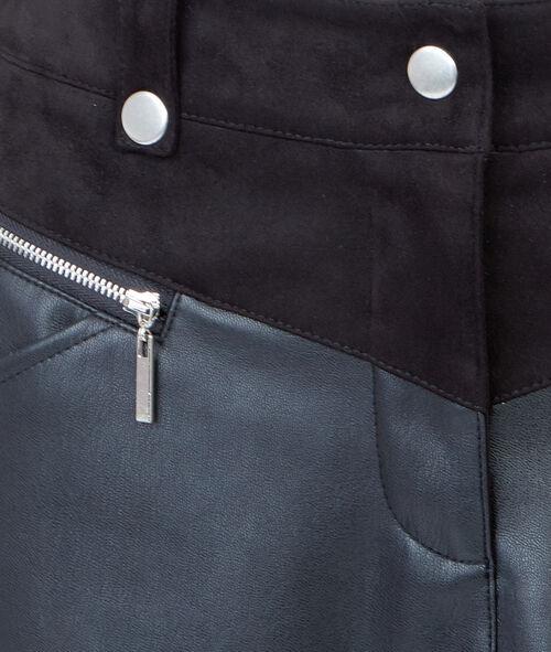Jupe courte bi-matière à zips effet cuir