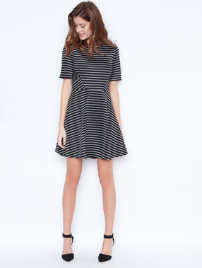 Striped flare dress black.