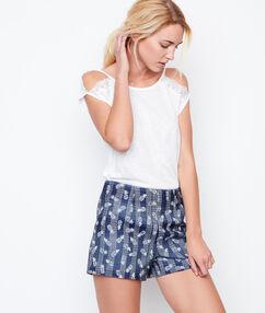 Pantalón corto jacquard piñas azul.
