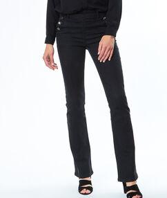 Pantalon évasé boutonné noir.
