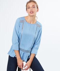 3/4 sleeves blouse bleach.