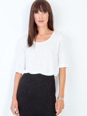 T-shirt manches 3/4 en viscose blanc.
