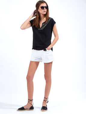Linen and cotton top black.