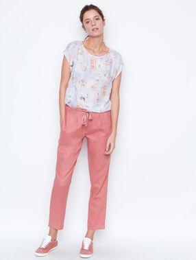 Pantalon en lin, ceinture brillante vieux rose.