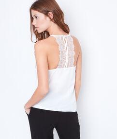 Débardeur style lingerie, dos en dentelle blanc.