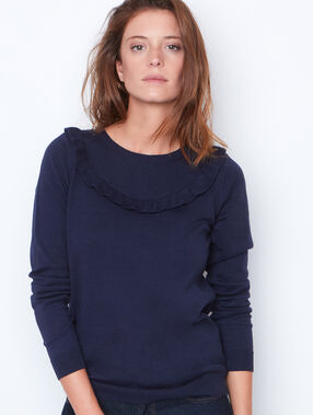 Round collar sweater navy.