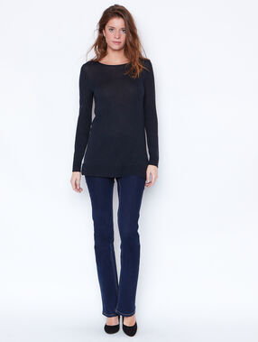 Fine sweater with lace back detail navy.