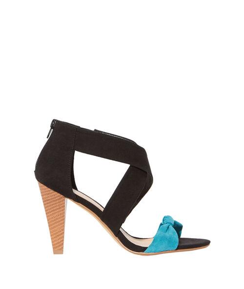 Sandales noeud effet daim, talons bois