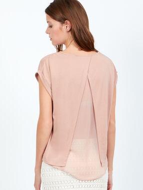 T-shirt dos ouvert doublé rose poudre.