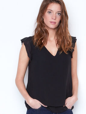 Ruffle top black.