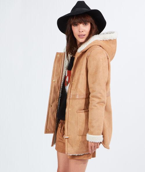 Manteau effet peau retournée à capuche