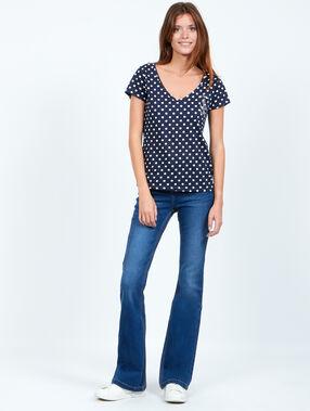 T-shirt à pois, détail ancre brodée bleu.