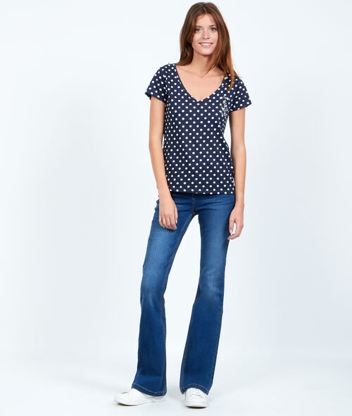 V-neck t-shirt with polka dot print
