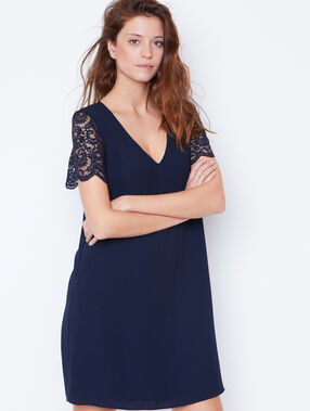 Lace detail dress with cut out back navy.