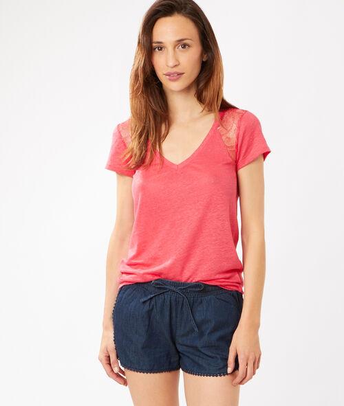 T-shirt en lin col V, empiècements dentelle