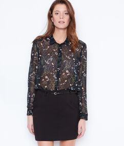 Straight belted skirt black.