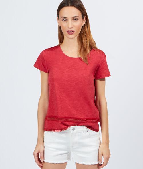 T-shirt en coton, empiècements guipure