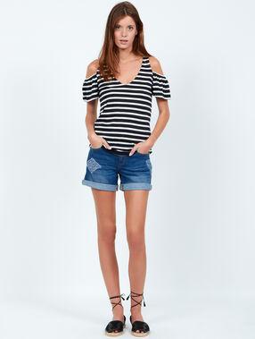 T-shirt marinière épaules dénudées marine.