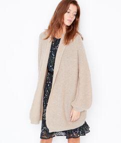 Knit long cardigan with shawl collar ecru.