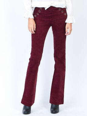 Pantalon évasé en velours côtelé prune.