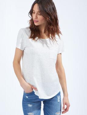 T-shirt en coton à col rond blanc cassé.
