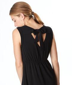Robe sans manches nouée au dos noir.