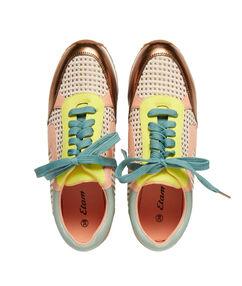Sneakers suédine et jacquard multicolore.