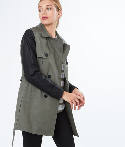 Trench avec manches effet cuir