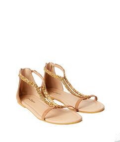 Sandales brillantes en suédine camel.