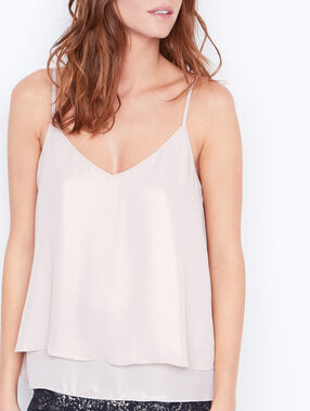 Metallic effect tank top light pink.