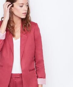 Linen suit jacket currant.