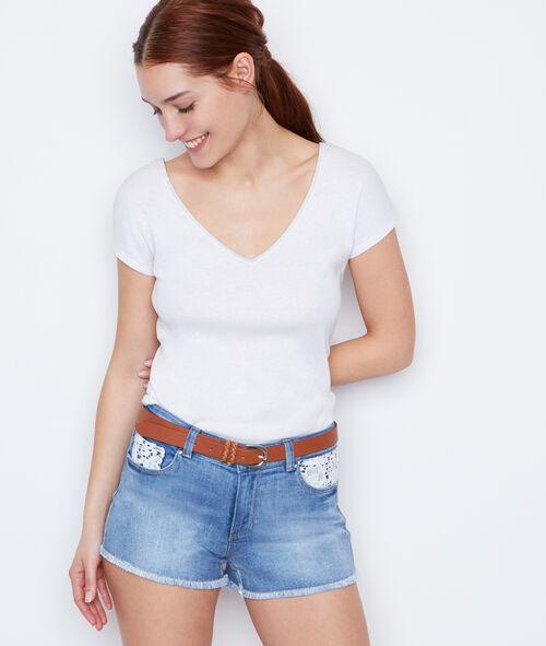 Short en jeans détail en dentelle