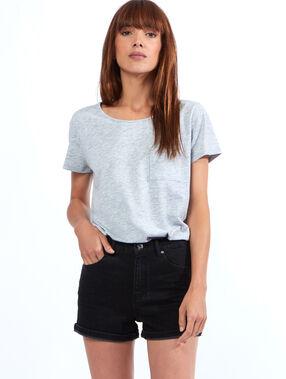Short en jean taille haute noir.