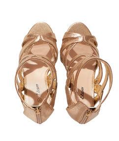 Sandales dorées à talons or.