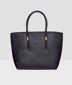 Leather look shopper bag black.