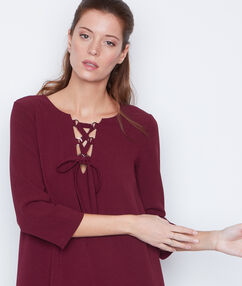 3/4 sleeve dress burgundy.