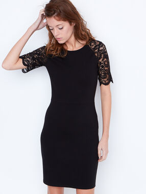 Lace fitted dress black.