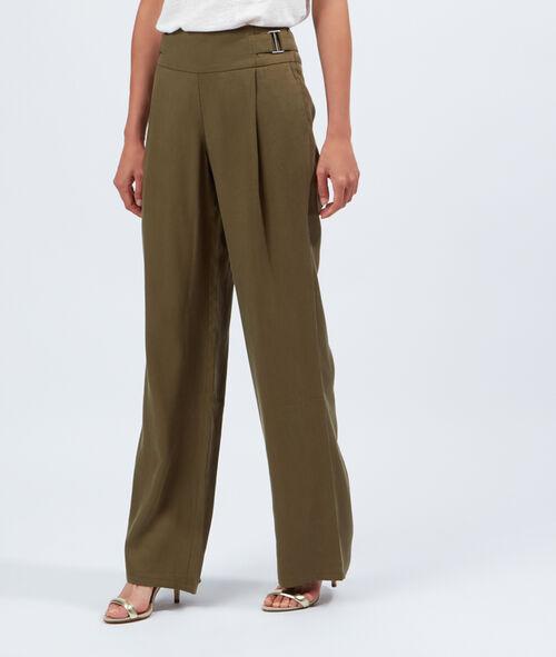Pantalon large taille haute, maille piquée