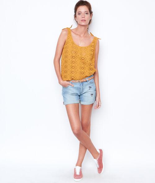 Short en jean détail palmier