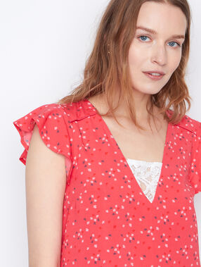 Printed  short sleeves top coral.
