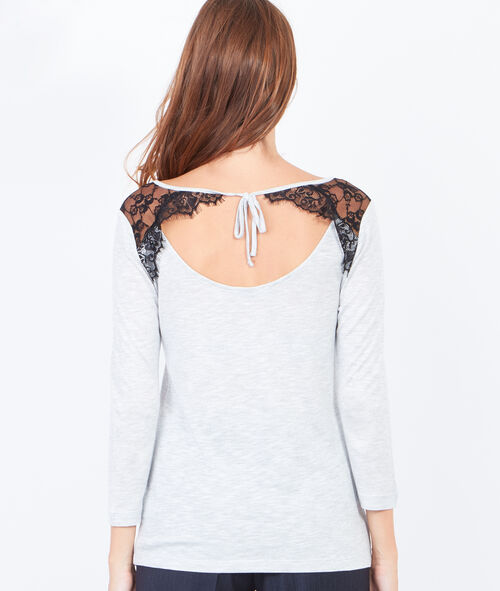 Scoop back top with lace inserts