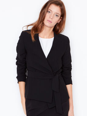 Wrap belted blazer black.