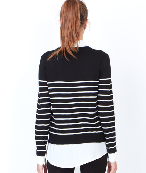 Striped sweater with round collar