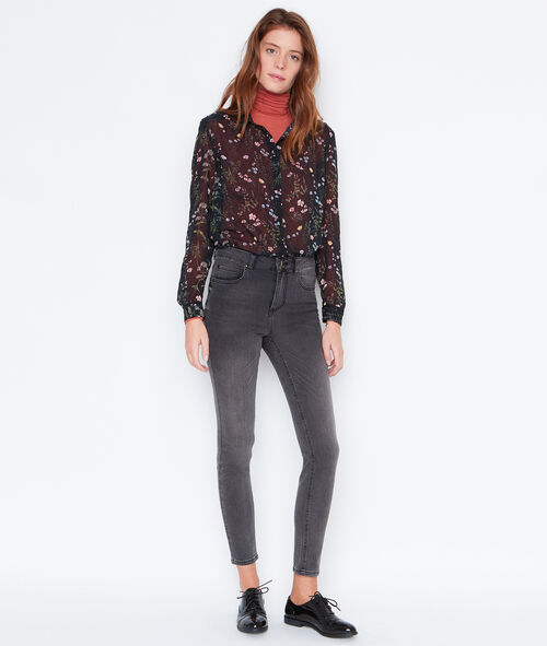 Sheer shirt with floral print