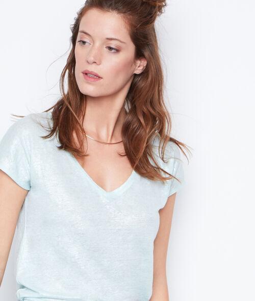 T-shirt col V effet lurex en lin