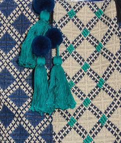 Cabas imprimé graphique à pompons bleu denim/beige.
