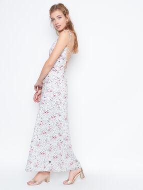 Robe longue croisée au dos à fleurs blanc.